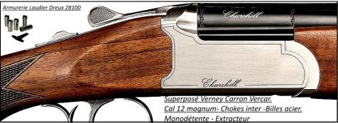 Superposé-Vercar-Verney Carron-St Etienne-Cal 12 magnum- Extracteur- Mono-détente-Chokes inter-Promotion-Ref 29573-CHVERCAR71CX