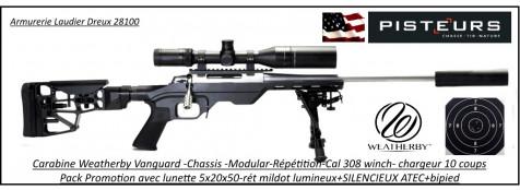Carabine-Weatherby-vanguard-modular-chassis-SNIPER-Calibre-308 winch-Répétition-Crosse-réglable +lunette-5x20x50+SILENCIEUX+bipied-Promotion-Ref WBY-308-sniper
