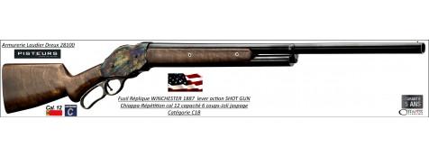 Fusil Système Winchester Chiappa modèle 1887 levier de sous-garde à répétition manuelle Calibre12/70-Capacité 5 + 1 cartouches-Ref WE101