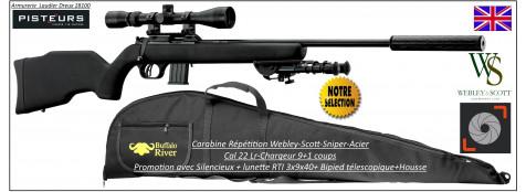 Carabine webley Scott Calibre 22 Lr Acier SNIPER-répétition +Silencieux+Lunette-RTI 3x9x40+bipied + housse-Promotion-Ref WSP04