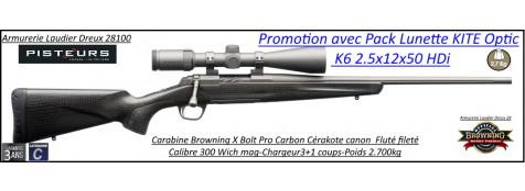 Browning X BOLT Pro Carbon Cerakote Calibre 300 winch mag canon fluté fileté avec lunette K6 Kite 2.5x12x50 HDi- Promotion -Ref 035490729-38129-bis