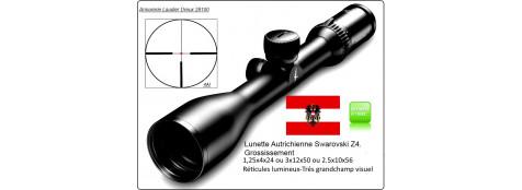Lunettes-SWAROVSKI -Z4i-Autrichiennes-Gross: 1.25-4 x 24,ou 3 x12x50,ou 2.5 x10x56 -Réticules lumineux- 4AI-Rail ou colliers