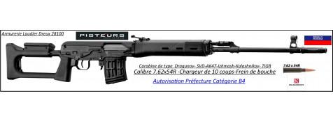 Carabine Izmash Kalashnikov AK47 TIGR SVD Calibre 7.62x54R-semi-automatique canon 620 mm-Type DRAGUNOV-Autorisation-Préfectorale-B4-Ref ZE1230