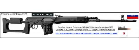 Carabine Izmash Kalashnikov AK47 TIGR SVD Calibre 7.62x54R REPETITION MANUELLE canon 620 mm Type DRAGUNOV-Catégorie C1B-Ref ZE1235