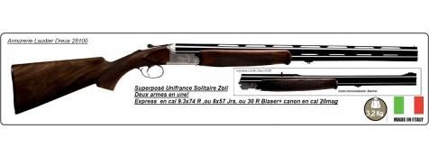 """Superposé Express""""UNIFRANCE Solitaire""""-Cal 9.3x74 R- ou 8x57Jrs-ou 30 R Blaser+ Kit Canons en cal 20 Mag."""